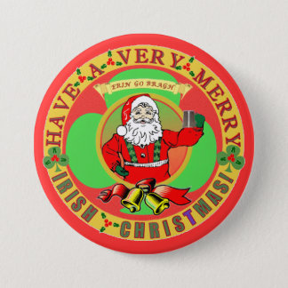 Merry Irish Christmas Bufton Pinback Button