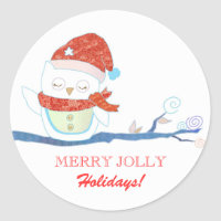 Merry Jolly Holidays Fun Owl Greetings Stickers