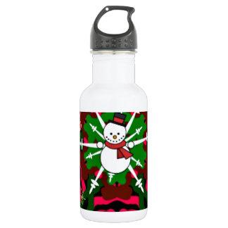 Merry Kaleidoscope Snowman Christmas Water Bottle