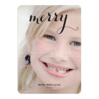 Merry Kids Christmas Picture Modern Holiday Photo Card