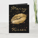 """Merry Kisses Christmas Holiday Card<br><div class=""""desc"""">Send the sweetest greetings this Christmas season with this """"Merry Kisses"""" Christmas card.  Featuring a black background with """"Merry Kisses"""" written in gold font,  the middle features gold lipstick prints.  Purchase yours today!   Graphic Design clipart and sprinkles: https://www.etsy.com/shop/OriginsDigitalCurio</div>"""