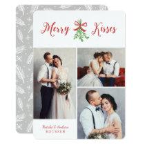 Merry Kisses Three Photo Holiday Card