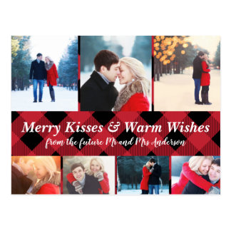 Merry Kisses Warm Wishes Holiday Save Date Photos Postcard