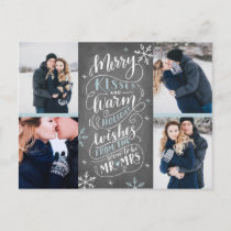 Merry Kisses Warm Wishes Save The Date 4-Photo Announcement Postcard