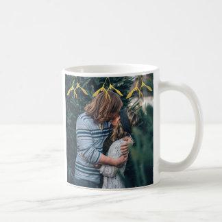 Merry Kissmas Gold Mistletoe Christmas Photo Mug