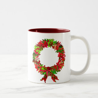 merry kissmas wreath Two-Tone coffee mug