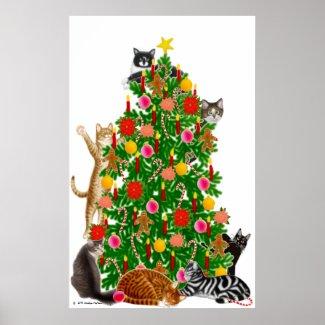 Merry Kitty Christmas Tree Print print