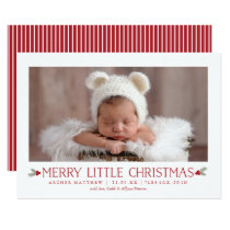 Merry Little Christmas Birth Announcement New Baby