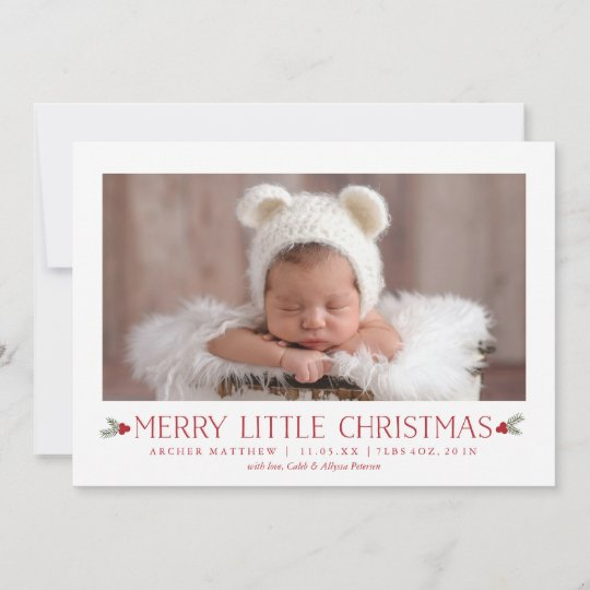 merry little christmas birth announcement new baby zazzle com
