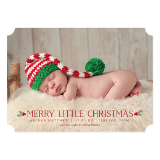 Merry Little Christmas Birth Announcement Photo
