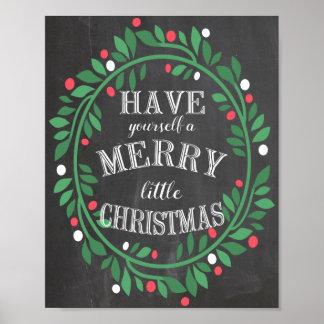 Merry Little Christmas Chalkboard Print