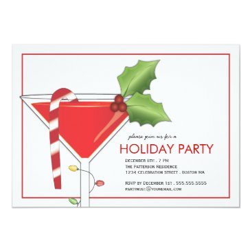 Christmas Themed Merry Little Christmas Cocktail Holiday Party Card