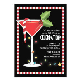 Merry Little Christmas Cocktail Holiday Party Card