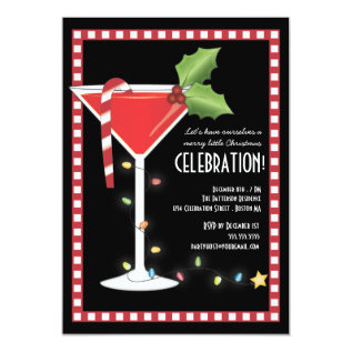 Merry Little Christmas Cocktail Holiday Party Card at Zazzle