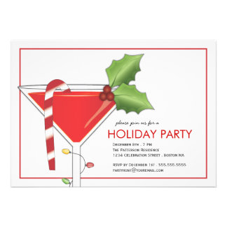 Merry Little Christmas Cocktail Holiday Party Custom Invites