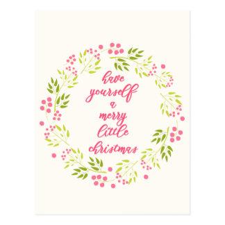 Merry little Christmas - Elegant flower wreath Postcard
