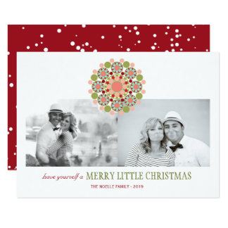 Merry Little Christmas Festive Flower Holiday Card
