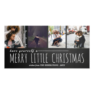 Merry Little Christmas Four Photo Chalkboard Card