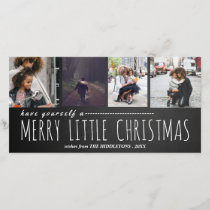 Merry Little Christmas Four Photo Chalkboard Holiday Card