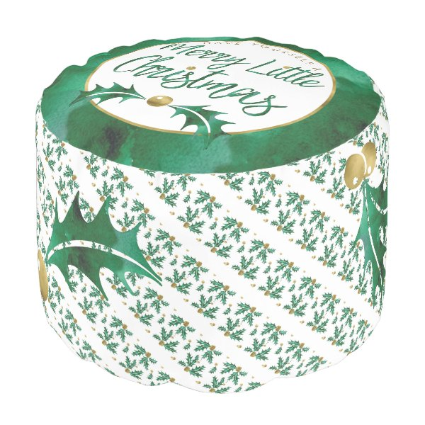 Merry Little Christmas Green and Gold Watercolor Pouf