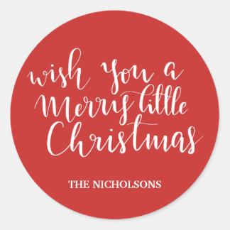 Merry Little Christmas Handwritten Script Red Classic Round Sticker