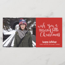 Merry Little Christmas Handwritten Script Red Holiday Card