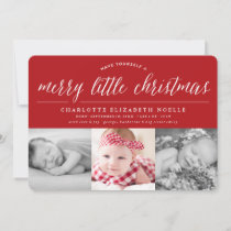 Merry Little Christmas Holiday Birth Announcement