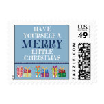 Merry Little Christmas Holiday Postage (blue)