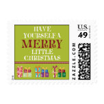 Merry Little Christmas Holiday Postage (lime)