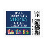 Merry Little Christmas Holiday Postage (navy)