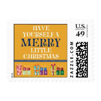 Merry Little Christmas Holiday Postage (orange)