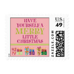 Merry Little Christmas Holiday Postage (pink)