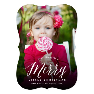 Merry Little Christmas Modern Holiday Photo Card