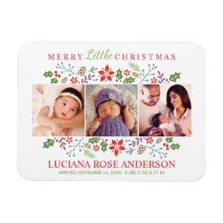 Merry Little Christmas | Photo Birth Magnet