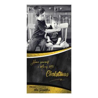 Merry little Christmas Photo Card Gold Foil