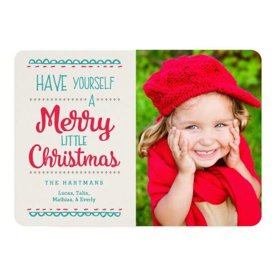 Merry Little Christmas Photo Card | Red Aqua
