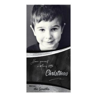 Merry little Christmas Photo Card Silver Foil
