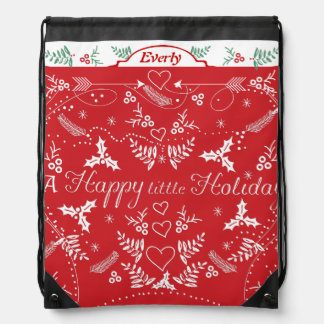 Merry Little Christmas Red and White Holly Arrows Drawstring Bag