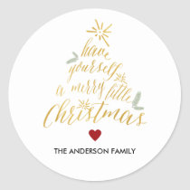 Merry Little Christmas round sticker