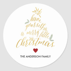 Merry Little Christmas Round Sticker at Zazzle