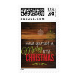 Merry Little Christmas Rustic Card Postage Stamps