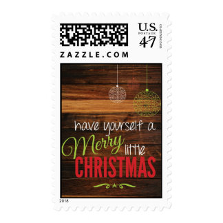 Merry Little Christmas Rustic Card Stamp