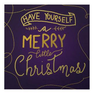 Merry Little Christmas Script Gold Script Purple Panel Wall Art