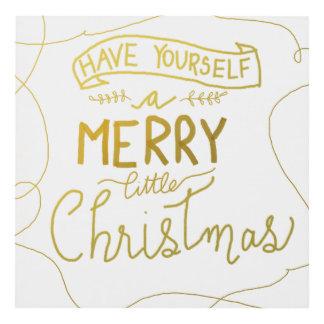 Merry Little Christmas Script Gold Script White Panel Wall Art