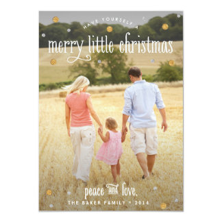 Merry Little Christmas Silver and Gold Photo Card