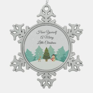 Merry Little Christmas Snowflake Pewter Christmas Ornament