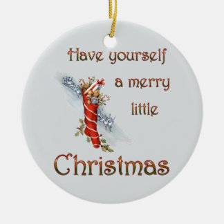Merry Little Christmas Stocking Double-Sided Ceramic Round Christmas Ornament
