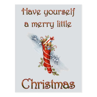 Merry Little Christmas Stocking Postcard