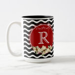 Merry Little Christmas Wavy Chevron Poinsettia Two-Tone Coffee Mug