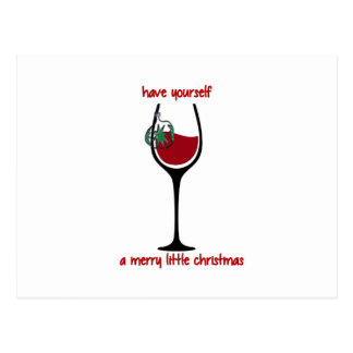 Merry Little Christmas Wine Glass (red) Postcard